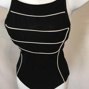 Black vintage swimsuit. Size medium. 1970s/1980s